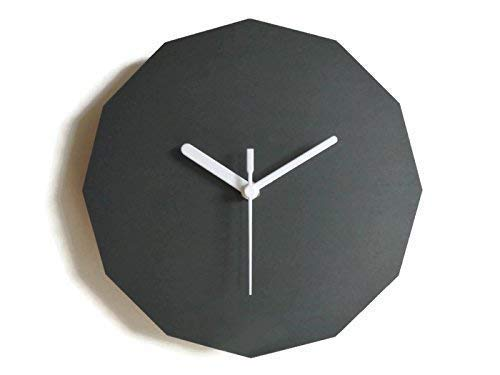 11 Inch small wooden quiet contemporary dodecagonal wall clock in many  colors as anthracite No ticking big modern frame geometric clocks Silent  wide wood dodecagon frameless wallclock for hallway: Amazon.co.uk: Handmade
